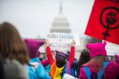 WASHINGTON, DC. - JAN. 21: Organizers put the Women's March on Washington in Washington D.C. on Saturday Jan. 21, 2017. (Photo by Damon Dahlen, Huffington Post) *** Local Caption ***